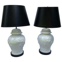 Pair of Blanc De Chine Baluster-Form Jars Mounted as Table Lamps
