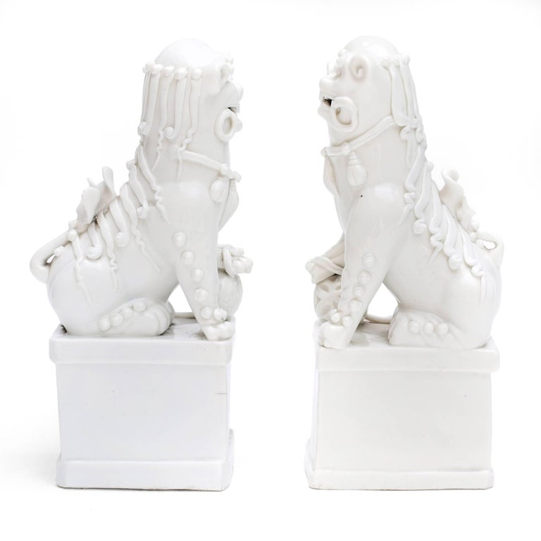 Pair of Blanc de Chine Buddhist Lions, Foo Dogs Early Kangxi, 1662-1722 For Sale 9