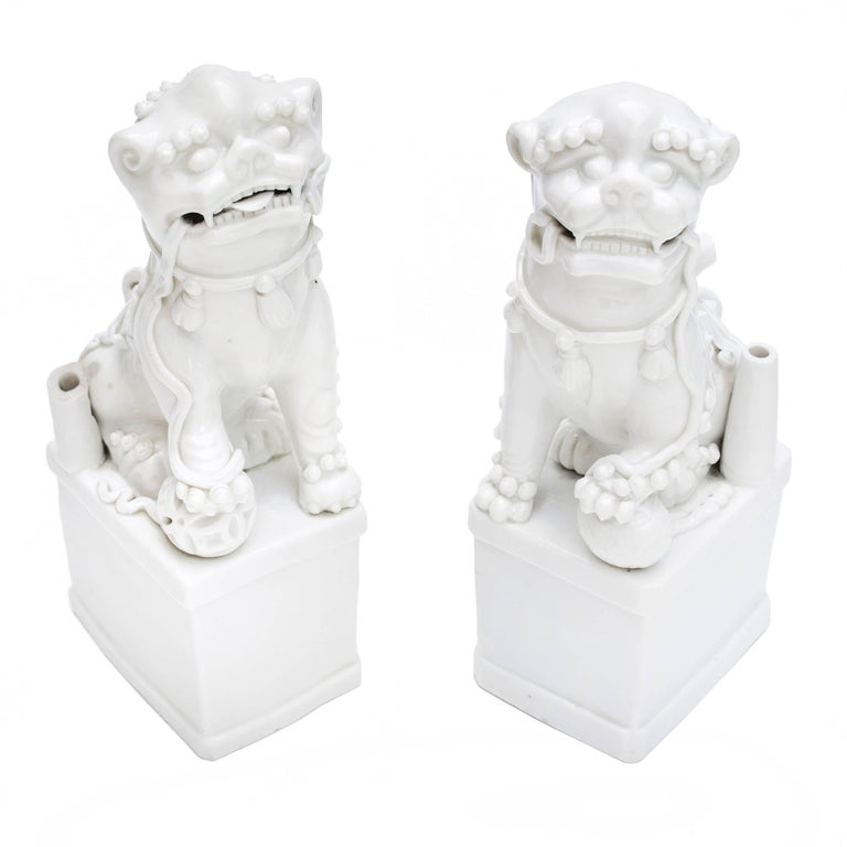 18th Century Pair of Blanc de Chine Buddhist Lions, Foo Dogs Early Kangxi, 1662-1722 For Sale