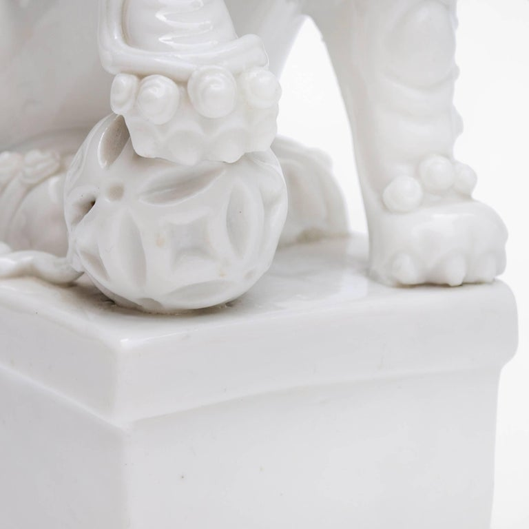 Pair of Blanc de Chine Buddhist Lions, Foo Dogs Early Kangxi, 1662-1722 For Sale 1