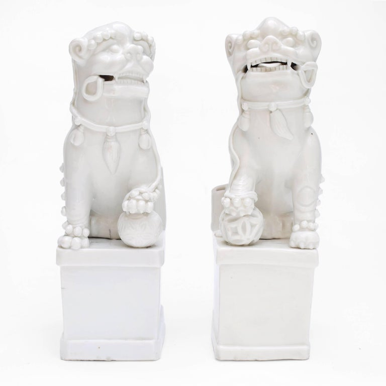 Pair of Blanc de Chine Buddhist Lions, Foo Dogs Early Kangxi, 1662-1722 For Sale 2