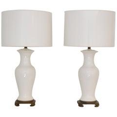 Pair of Blanc de Chine Jar Form Table Lamps