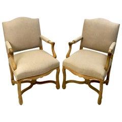 Pair of Bleached Oak Os de Mouton Open Armchairs