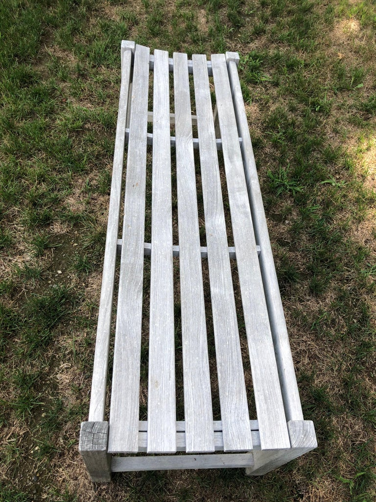 Pair of Bleached Outdoor Teak Benches For Sale 6