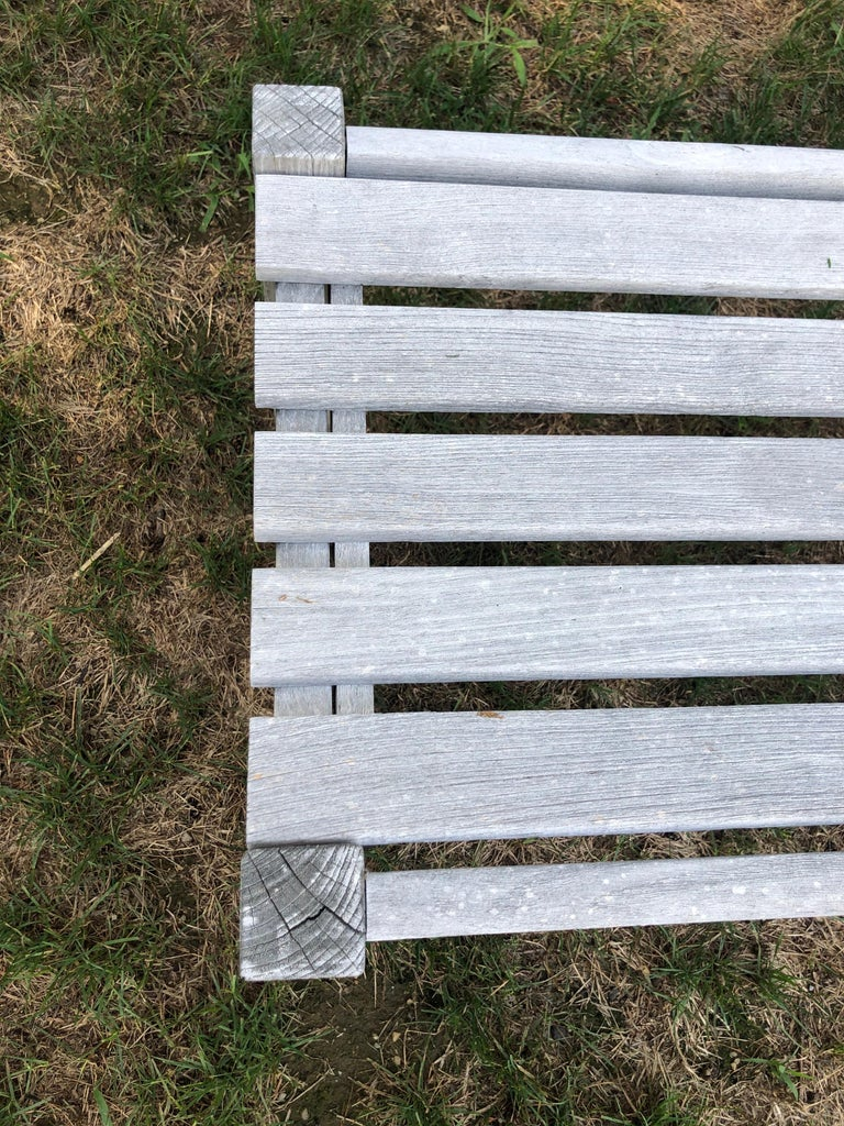 Pair of Bleached Outdoor Teak Benches For Sale 7