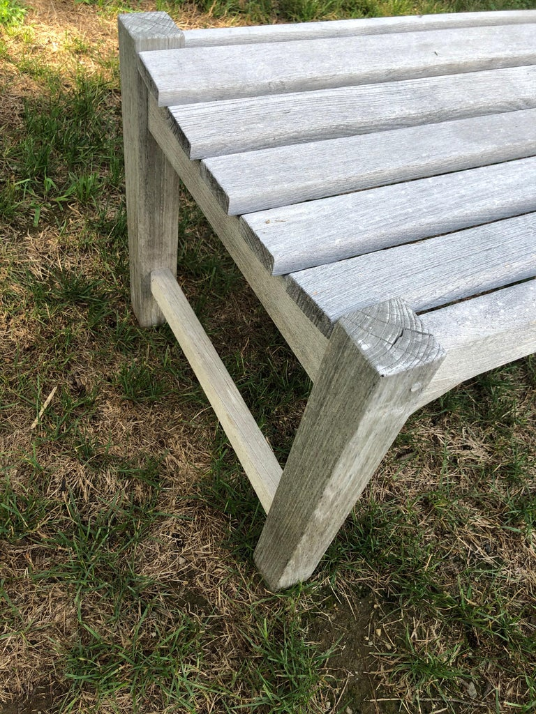 Pair of Bleached Outdoor Teak Benches For Sale 9