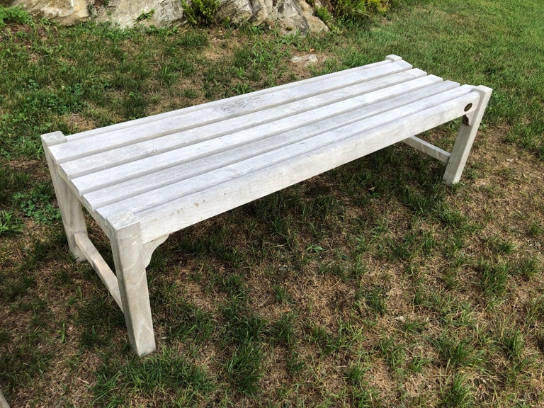 Pair of Bleached Outdoor Teak Benches For Sale 11