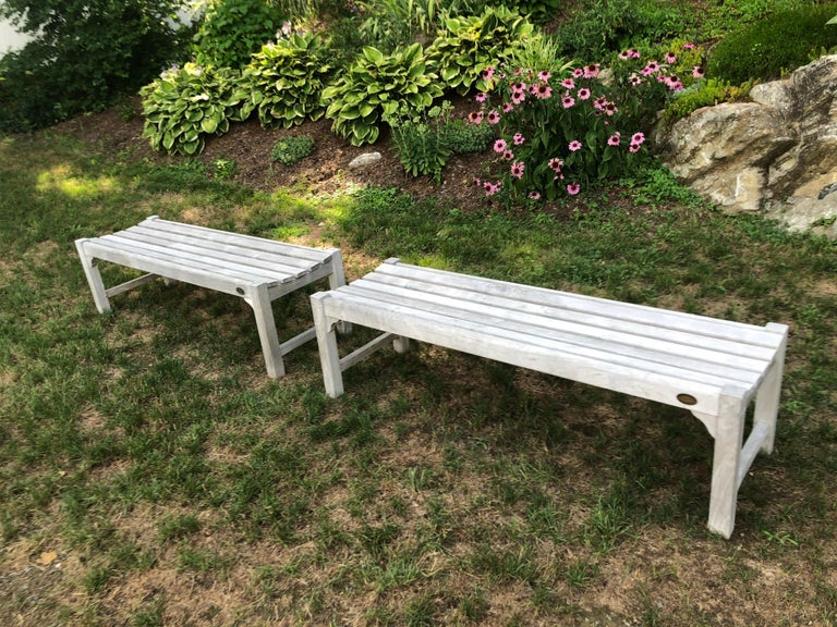 Pair of Bleached Outdoor Teak Benches For Sale 13