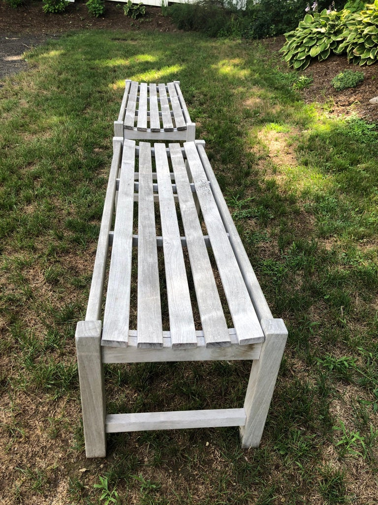 Pair of Bleached Outdoor Teak Benches For Sale 14