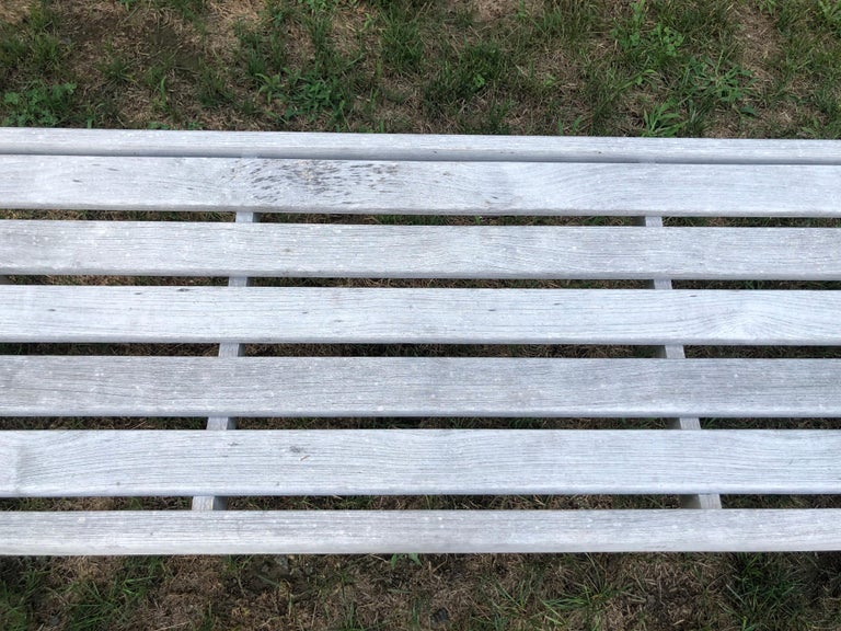 Pair of Bleached Outdoor Teak Benches For Sale 15