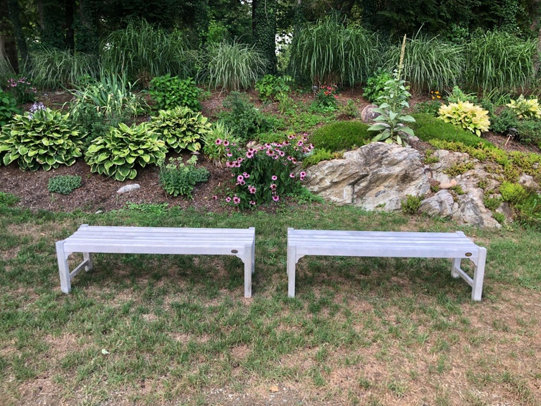 Pair of Bleached Outdoor Teak Benches In Good Condition For Sale In Redding, CT
