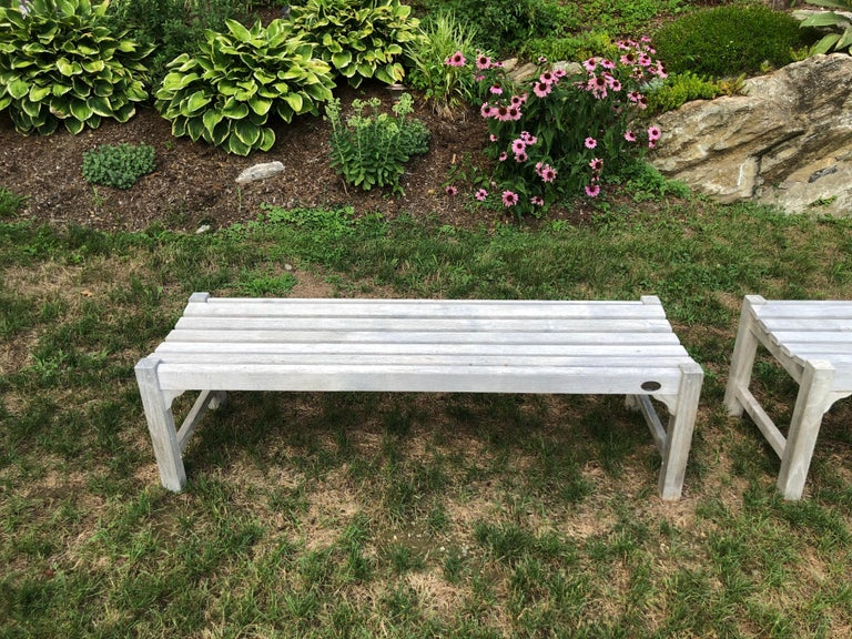 Contemporary Pair of Bleached Outdoor Teak Benches For Sale