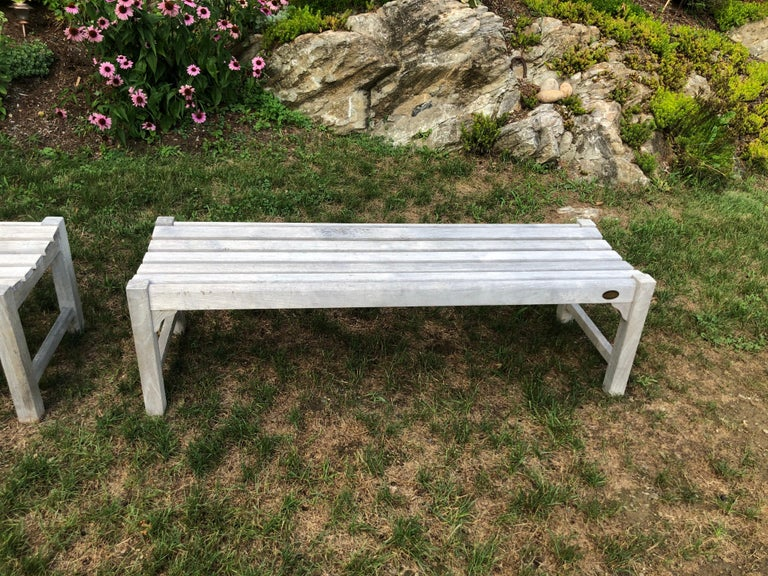 Pair of Bleached Outdoor Teak Benches For Sale 1