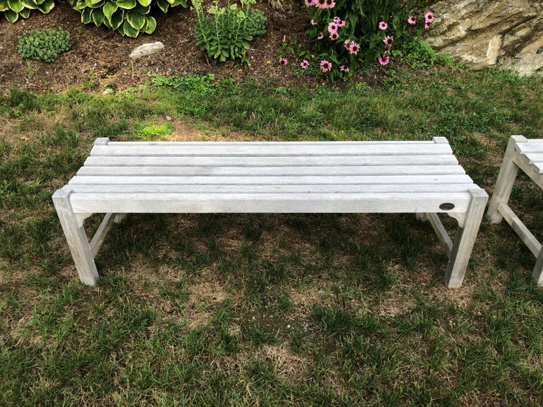 Pair of Bleached Outdoor Teak Benches For Sale 2
