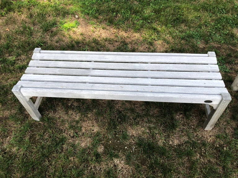 Pair of Bleached Outdoor Teak Benches For Sale 3