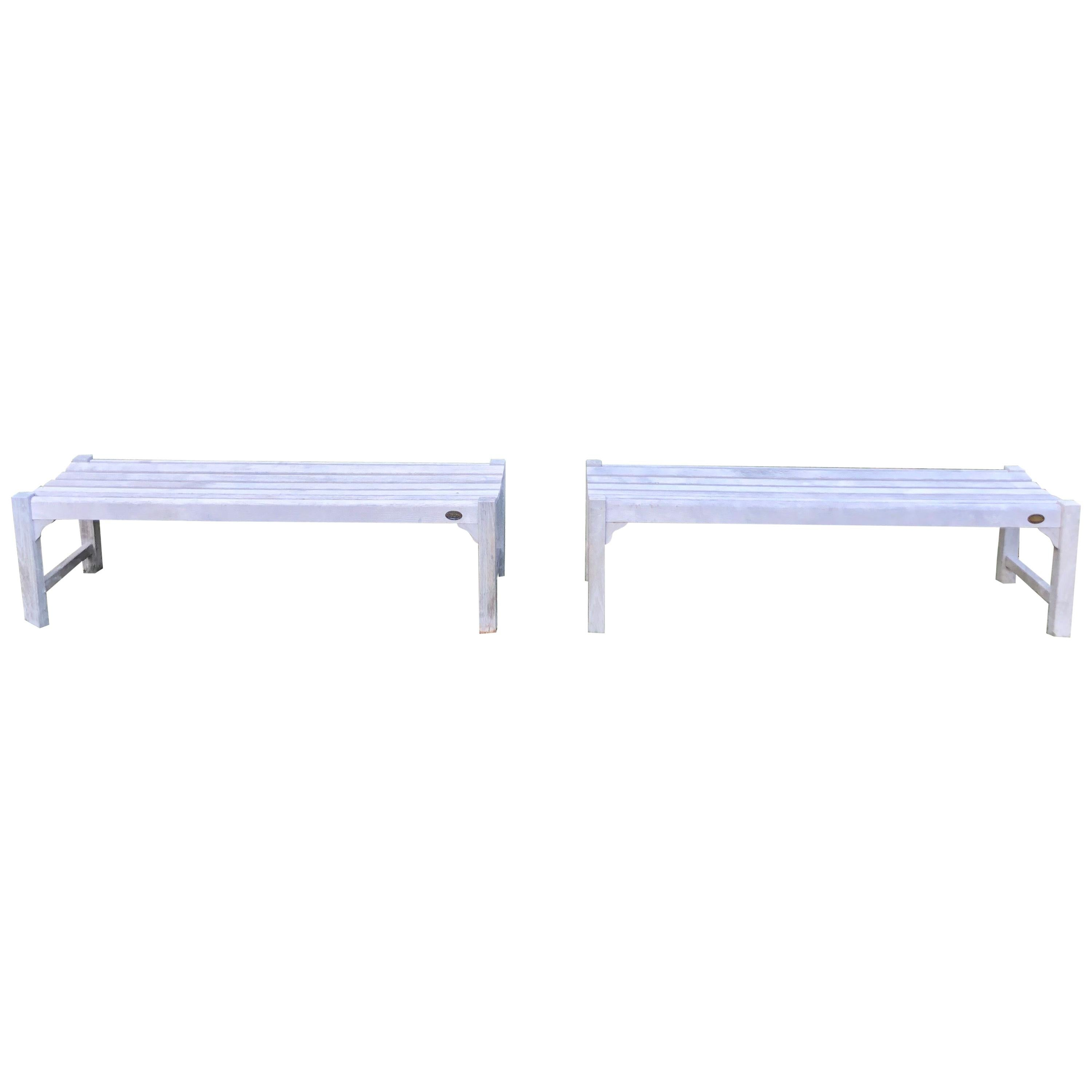 Pair of Bleached Outdoor Teak Benches