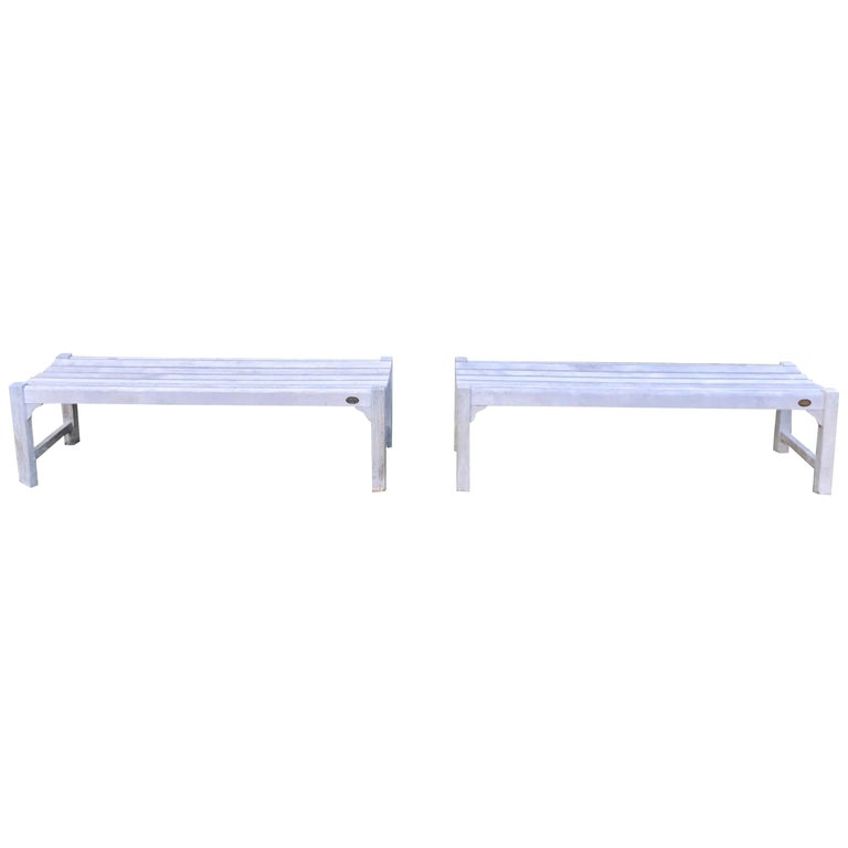 Pair of Bleached Outdoor Teak Benches For Sale
