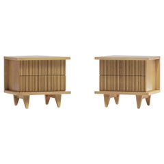 Pair of Bleached Philippine Mahogany Nightstands by American of Martinsville