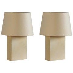 Pair of 'Bloc' Parchment Lamps with Parchment Paper Shades by Design Frères