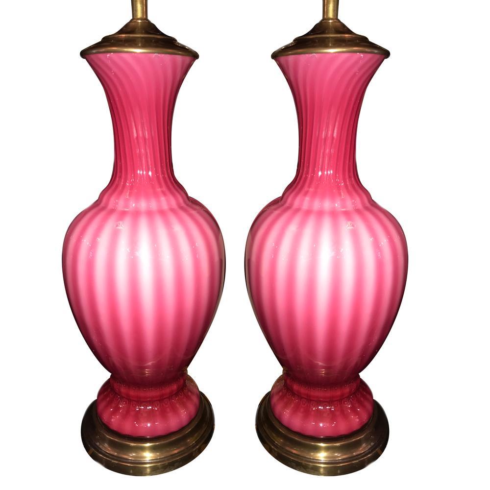 Pair of Blow Glass Pink Murano Lamps