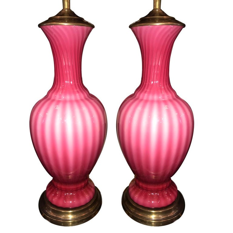 Pair of Blow Glass Pink Murano Lamps For Sale