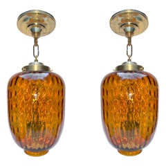 Pair of Blown Amber Glass Lanterns, Sold Individually