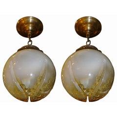 Pair of Blown Glass Lanterns