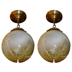 Pair of Blown Glass Lanterns, Sold Individually