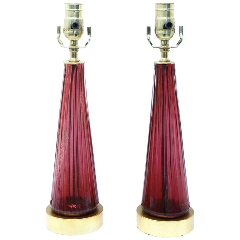 Pair of Blown Glass Murano Table Lamps For Sale