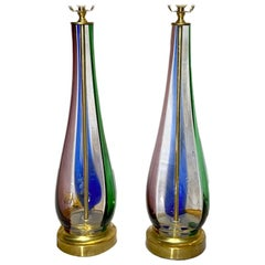 Pair of Blown Glass Murano Table Lamps