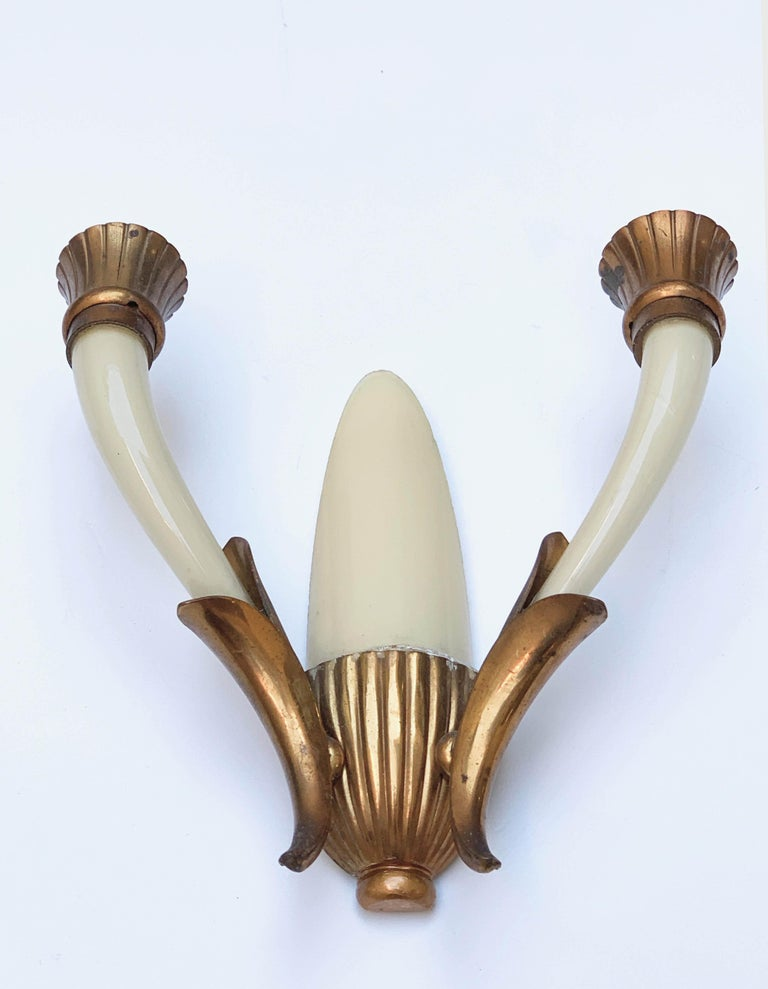 Pair of Blown Ivory White Murano Glass and Coppered Brass Italian Sconces, 1940s For Sale 9