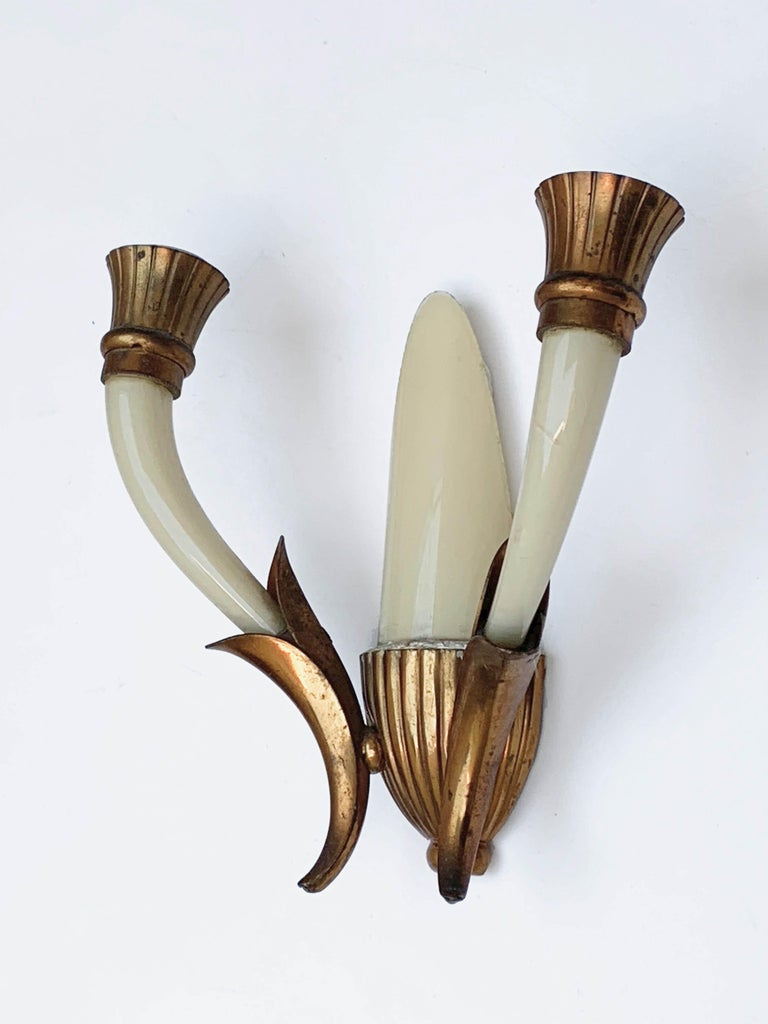 Pair of Blown Ivory White Murano Glass and Coppered Brass Italian Sconces, 1940s For Sale 10
