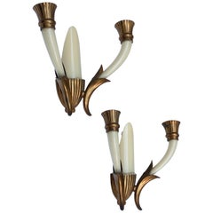 Pair of Blown Ivory White Murano Glass and Coppered Brass Italian Sconces, 1940s