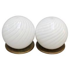 Pair of Blown Murano Glass Globe Table Lamps, circa 1950s