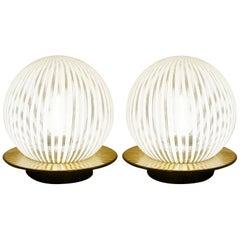 Pair of Blown Murano Glass Globe Venini Table Lamps