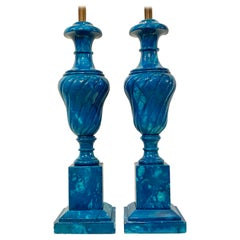 Pair of Blue Alabaster Lamps