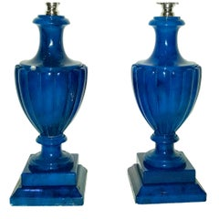 Pair of Blue Alabaster Table Lamps