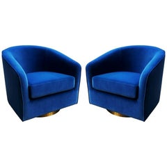 Pair of Blue and Brass Milo Baughman Swivel Chairs