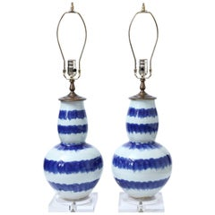 Pair of Blue and Celadon Striped Ceramic Table Lamps