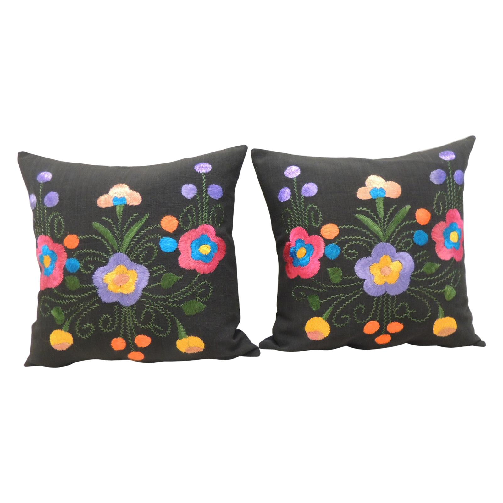 Pair of Blue and Pink Square Decorative Pillows