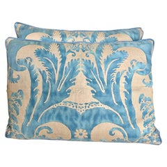 Pair of Blue and Silver Glicine Patterned Fortuny Textile Pillows