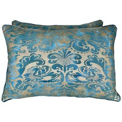 Pair of Blue and Silvery Gold Fortuny Style Pillows