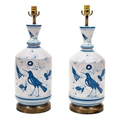 Pair of Blue and White Bird Table Lamps