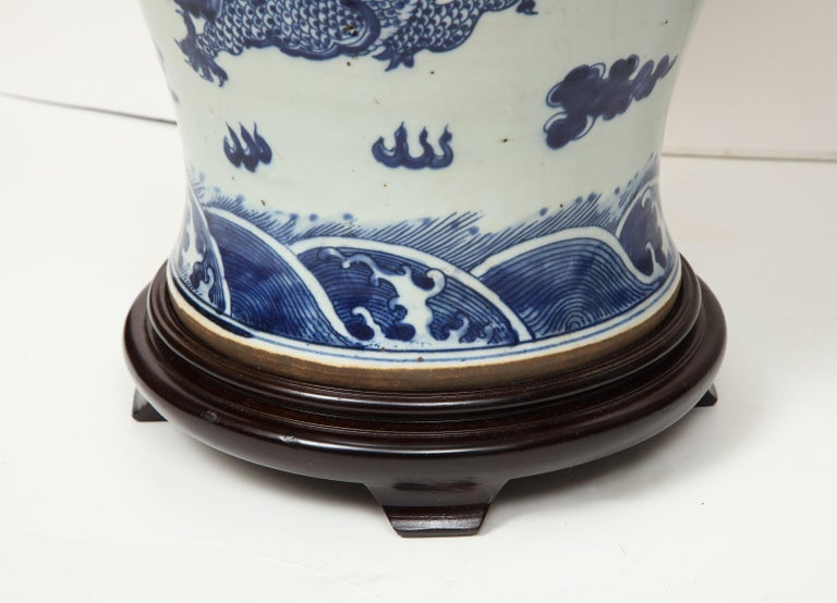 Porcelain Pair of Blue and White Chinese Export Lamps For Sale