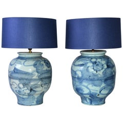 Pair of Blue and White Chinese Ginger Jar Lamp Bases