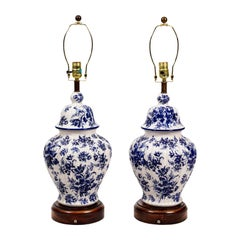 Pair of Blue and White Chinese Temple Jar Table Lamps