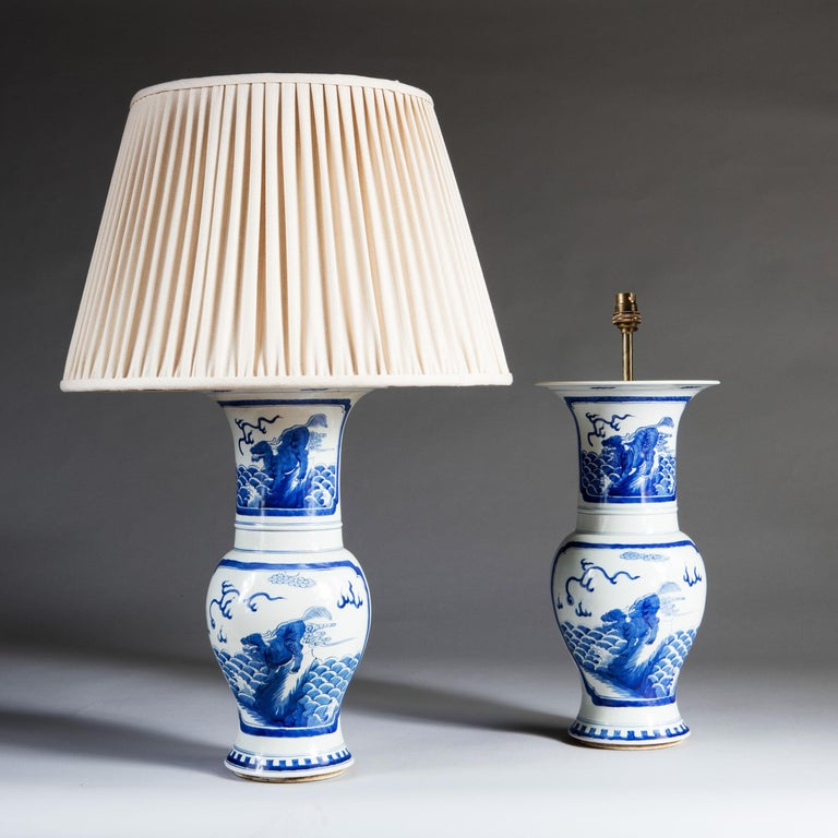 Glazed Pair of Blue and White Chinese Trumpet Vases as Table Lamps For Sale