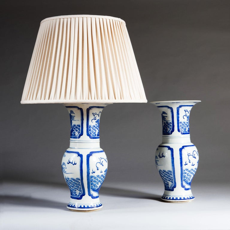 Pair of Blue and White Chinese Trumpet Vases as Table Lamps In Good Condition For Sale In London, GB