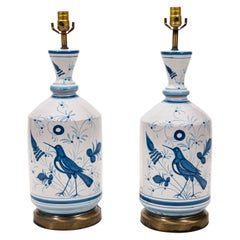 Pair of Blue and White Country Bird Table Lamps