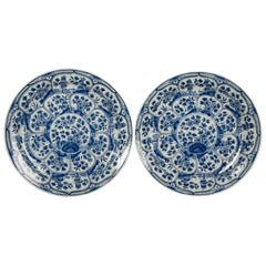 Pair of Blue and White Delft Chargers 18th Century Made by De Witte Starre